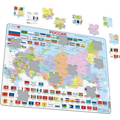 Larsen-K55-RU Puzzle Cadre - Carte de la Russie (en Russe)