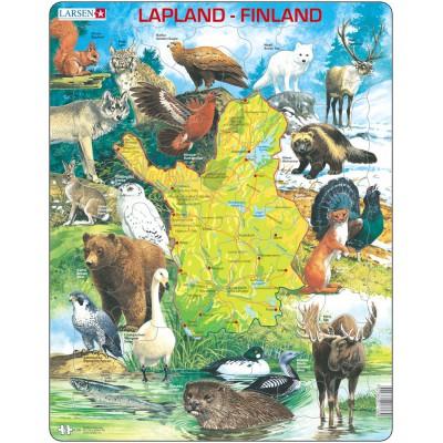 Larsen-K58-FI Puzzle Cadre - Carte de la Laponie et de la Finlande (en Finnois)