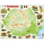Larsen-K67 Puzzle Cadre - Carte de la Roumanie (en Roumain)