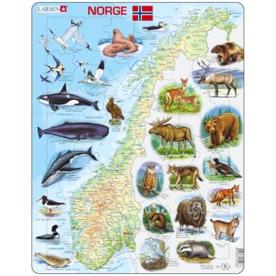 Larsen-K68-NO Puzzle Cadre - Carte de la Norvège avec ses Animaux (en Norvégien)