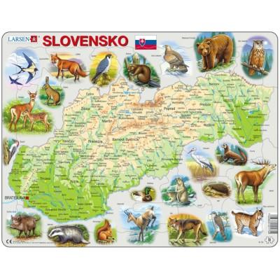 Larsen-K73-SK Puzzle Cadre - Carte de la Slovaquie avec ses Animaux (en Slovaque)