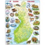 Larsen-K75-FI Puzzle Cadre - Carte de la Finlande et ses Animaux (en Finnois)