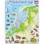 Larsen-K79 Puzzle Cadre - Carte des Pays-Bas et ses Animaux (en Hollandais)