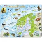 Larsen-K80-NL Puzzle Cadre - Carte de la Province de Friesland, Pays-Bas et ses Animaux (en Hollandais)
