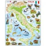 Larsen-K83 Puzzle Cadre - Carte de l'Italie avec ses Animaux (en Italien)