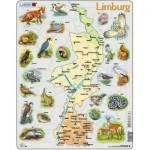 Larsen-K89 Puzzle Cadre - Carte de Limburg et ses Animaux (en Allemand)