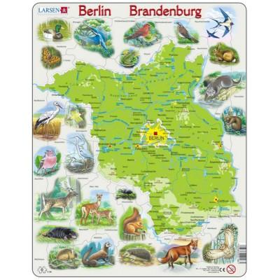 Larsen-K96-DE Puzzle Cadre - Bundesland : Brandenburg et Berlin avec ses Animaux (en Allemand)