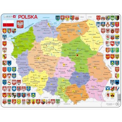 Larsen-K97-PL Puzzle Cadre - Carte de la Pologne (en Polonais)
