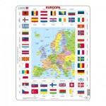 Larsen-KL1-EE Puzzle Cadre - Carte et Drapeaux d'Europe (Estonien)