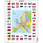 Puzzle  Larsen-KL1-FR Carte et Drapeaux de l'Europe (en Français)