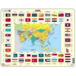 Larsen-KL2-GB Puzzle Cadre - Drapeaux d'Asie (en Anglais)