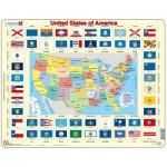 Larsen-L1-GB Puzzle Cadre - Carte et Drapeaux des Etats-Unis (en Anglais)