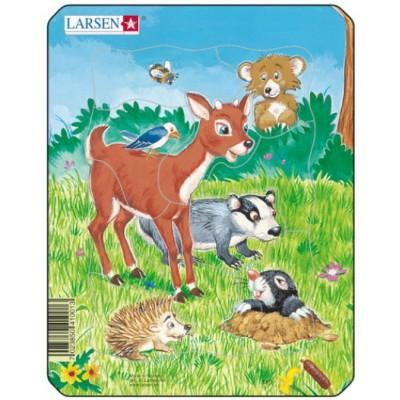 Larsen-M1-3 Puzzle Cadre - Animaux de la Forêt