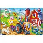 Larsen-U10-1 Puzzle Cadre - La Vache et le Tracteur