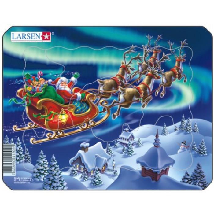 Puzzle Cadre - Le Père Noël dans les Lumières Nordiques