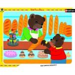 Nathan-86105 Puzzle cadre - Petit Ours Brun à la boulangerie