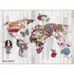 Puzzle  Nathan-87204 Mappemonde Baroque