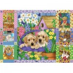 Puzzle  Cobble-Hill-80278 Puppies and Posies Quilt