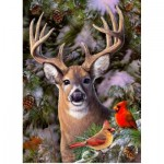 Puzzle   Pièces XXL - One Deer Two Cardinals