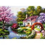 Puzzle   Spring Cottage In Full Bloom