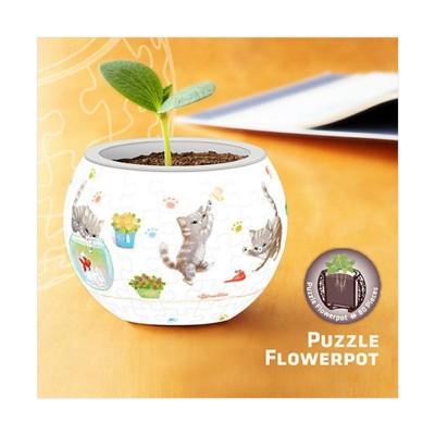 Pintoo-K1014 Puzzle 3D - Flower Pot - Cat's Play Time