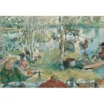 Puzzle  Pomegranate-AA409 Carl Larsson : la pêche aux écrevisses