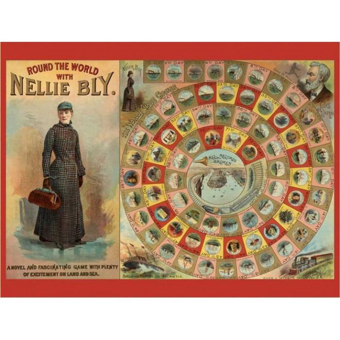 Tour du Monde avec Nellie Bly - Puzzle 300 pièces + Jeu de société (anglais)
