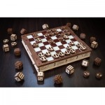 Puzzle 3D en Bois - Jeux d'échecs, de Dames et du Mathématicien