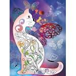 Grafika-Wood-00025 Puzzle en Bois - Le Chat et les Papillons
