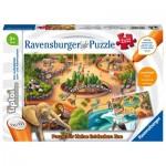 Ravensburger-00051 2 Puzzles - Tiptoi - Discover the Zoo