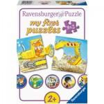 Ravensburger-03074 My First Puzzles - Animaux au Chantier (9x2 Pièces)