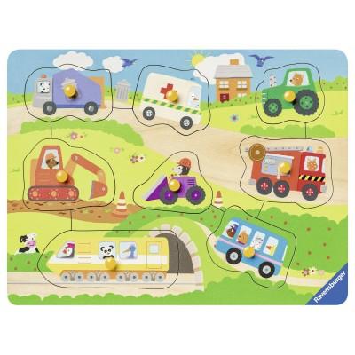Ravensburger-03684 Puzzle en Bois - Véhicules Ppréférés