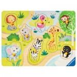 Ravensburger-03687 Puzzle en Bois - Dans le Zoo