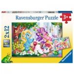 Ravensburger-05028 2 Puzzles - Monde de la Licorne Magique