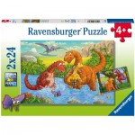 Ravensburger-05030 2 Puzzles - Dinosaures