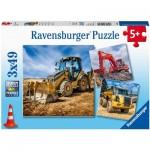 Ravensburger-05032 3 Puzzles - Véhicules de Construction en Service