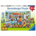 Ravensburger-05076 2 Puzzles - Chez l'Epicier