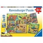 Ravensburger-05078 3 Puzzles - La Ferme et ses Habitants