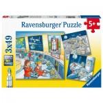 Ravensburger-05088 3 Puzzles - Mission Espace avec Tom et Mia