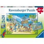 Ravensburger-05089 2 Puzzles - L'Île Aventureuse