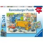 Ravensburger-05096 2 Puzzles - Camion Poubelle et Dépanneuse