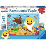 Ravensburger-05123 2 Puzzles - Baby Shark Explore