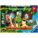 Ravensburger-05125 2 Puzzles - Gigantosaurus