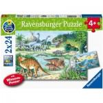 Ravensburger-05128 2 Puzzles - Les dinosaures et leurs Habitats