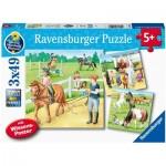 Ravensburger-05129 3 Puzzles - Un Jour au Centre Equestre