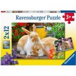 Ravensburger-05144 2 Puzzles - Petit Moment Câlin