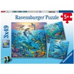 Ravensburger-05149 3 Puzzles - Animaux des Océans