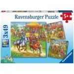 Ravensburger-05150 3 Puzzles - Moyen-Age
