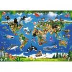 Ravensburger-05555 Puzzle Géant de Sol - Les Animaux autour du Monde