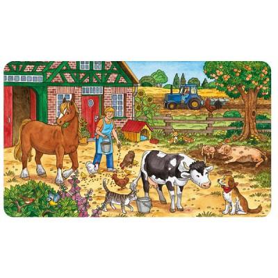 Ravensburger-06035 Puzzle cadre - 15 pièces : La vie à la ferme